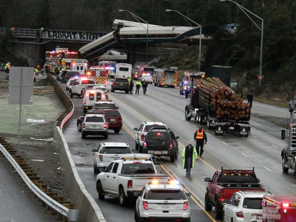 PHOTO: A derailed train is seen on southbound Interstate 5 on Dec. 18, 2017, in DuPont, Wash.
