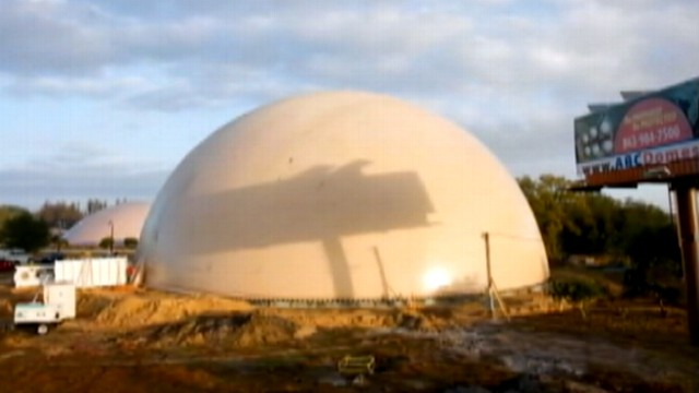 VIDEO: Dome shelters are being built in Texas.