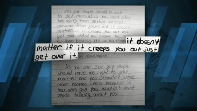 VIDEO: A fourth-grade student wrote class essay supporting gay marriage.