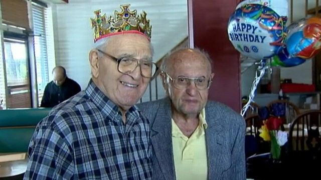 VIDEO: Joseph Katz and Al Spiegal celebrate their 100th birthdays and 91 years of friendship.