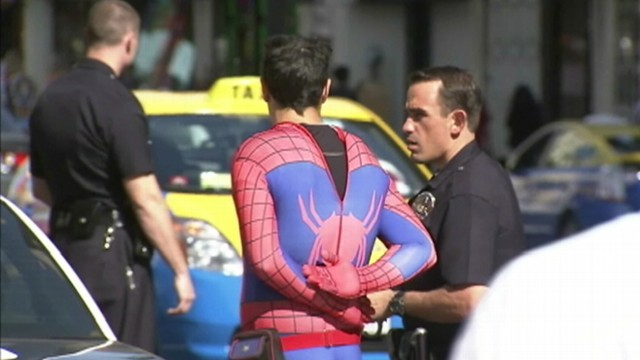 VIDEO: A man dressed as the superhero allegedly stole money from a California tour bus employee.