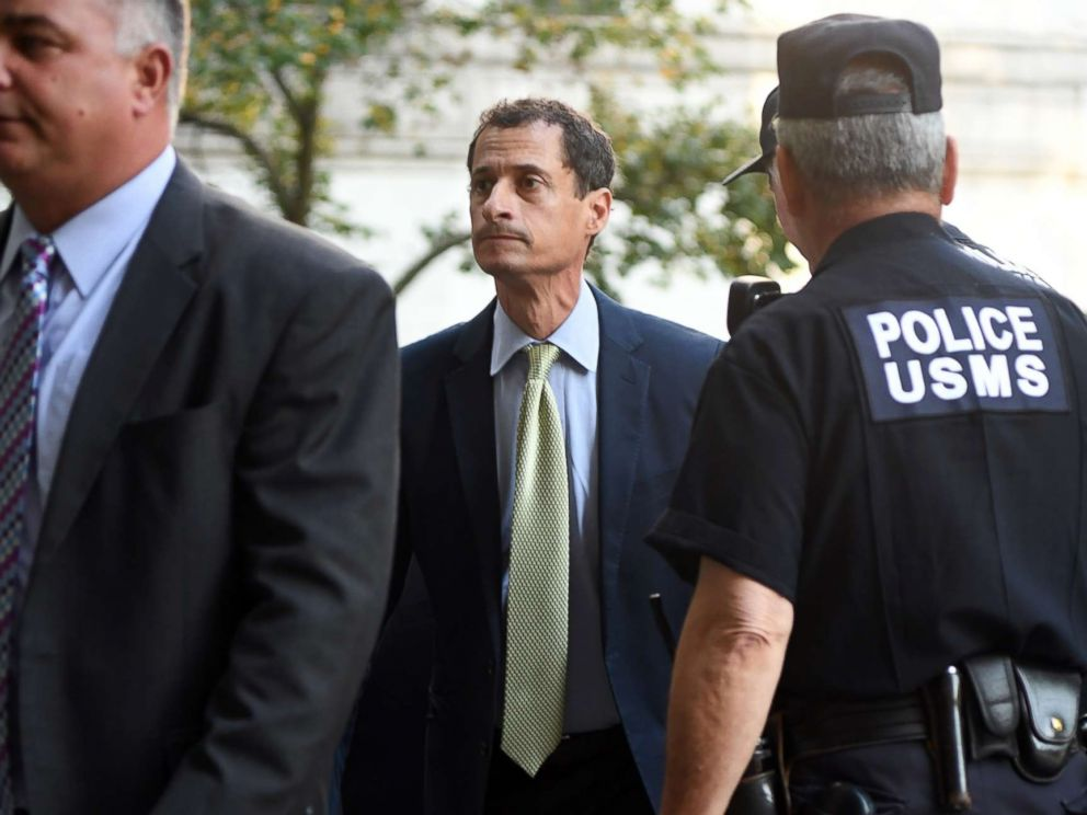 PHOTO: Anthony Weiner arrives at criminal court, Sept. 25, 2017, in New York City.