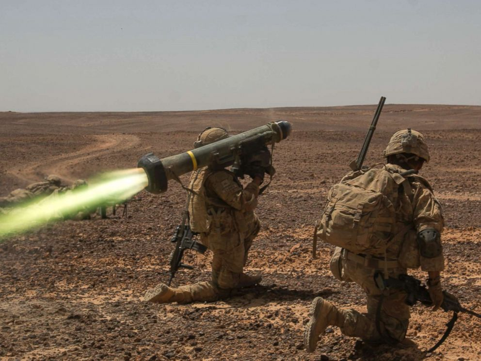 PHOTO: An FGM-148 Javelin Portable Anti-Tank Missile is fired during an exercise May 14, 2017 by members of the U.S. Army in Wadi Shadiya, Jordan.