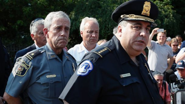PHOTO: Capitol Hill Police Chief Matthew Verderosa, right, with Alexandria, Va. Police Chief Michael Brown, left, brief the media in Alexandria, Va., June 14, 2017, on the shooting at a Congressional baseball practice.