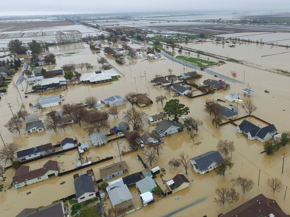 PHOTO: This aerial photo, shows major flooding in Maxwell, Colusa County, California, Feb. 18, 2017.