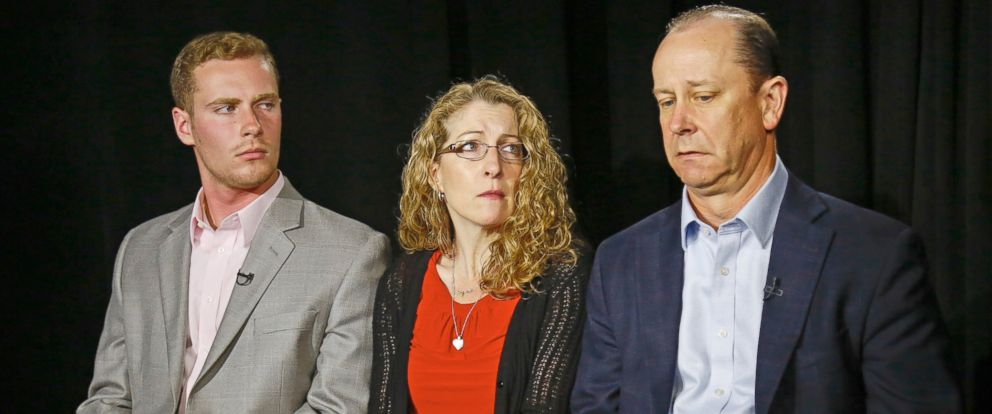 PHOTO: James Piazza, right, his wife Evelyn, center, and son Michael, left, discusses the death of his son, Penn State University fraternity pledge Tim Piazza, during an interview in New York, May 15, 2017.