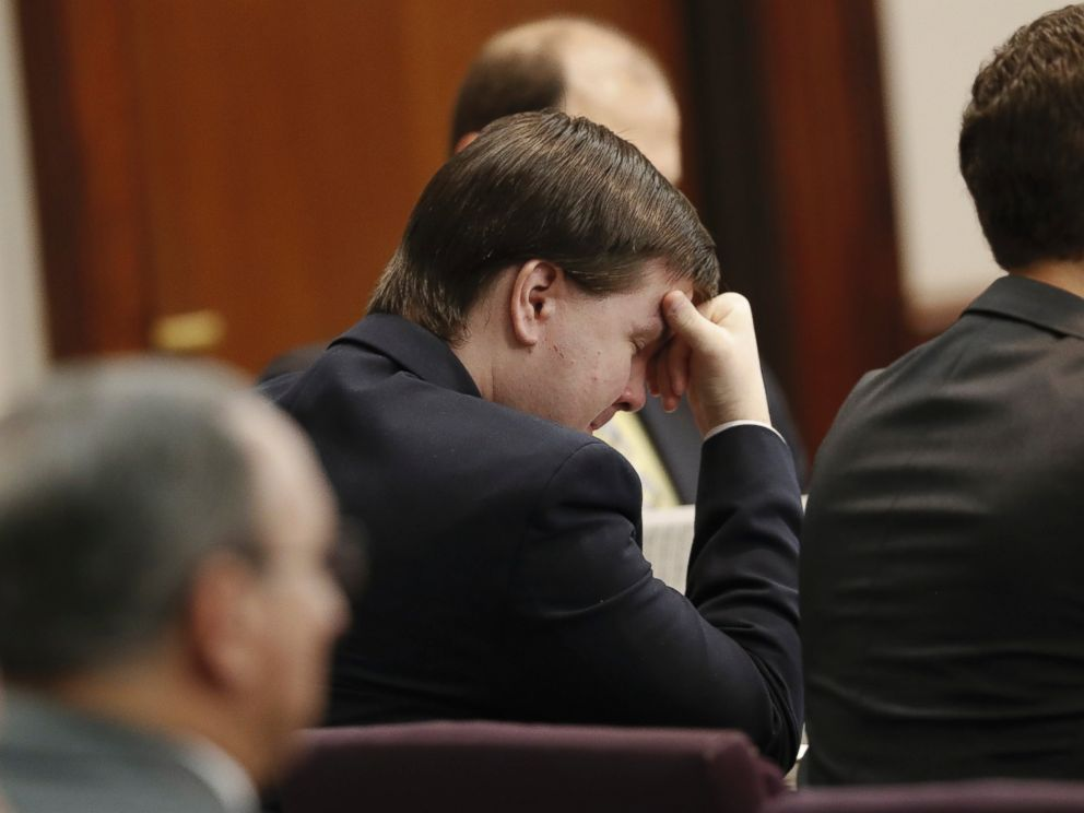 PHOTO: Justin Ross Harris, who is accused of intentionally killing his son in June 2014 by leaving him in a hot car listens as his ex-wife Leanna Taylor testifies during his murder trial, Oct. 31, 2016, in Brunswick, Georgia.