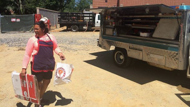 PHOTO: Nancy Vasquez, a Salvadoran citizen with a short-term and renewable legal immigration status in the U.S. called Temporary Protected Status (TPS), cleans up her food truck at a construction site in Rockville, Md, May 16, 2017.