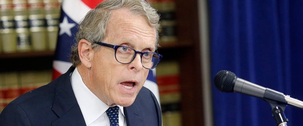 PHOTO: Ohio Attorney General Mike DeWine speaks during a news conference at the Attorney Generals office in Columbus, Ohio on May 31, 2017.