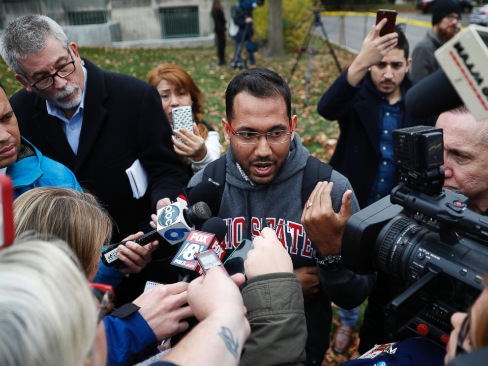 PHOTO: Angshuman Kapil, a graduate student at Ohio State University, speaks to members of the media as police investigate an attack on campus, Monday, Nov. 28, 2016, in Columbus, Ohio.