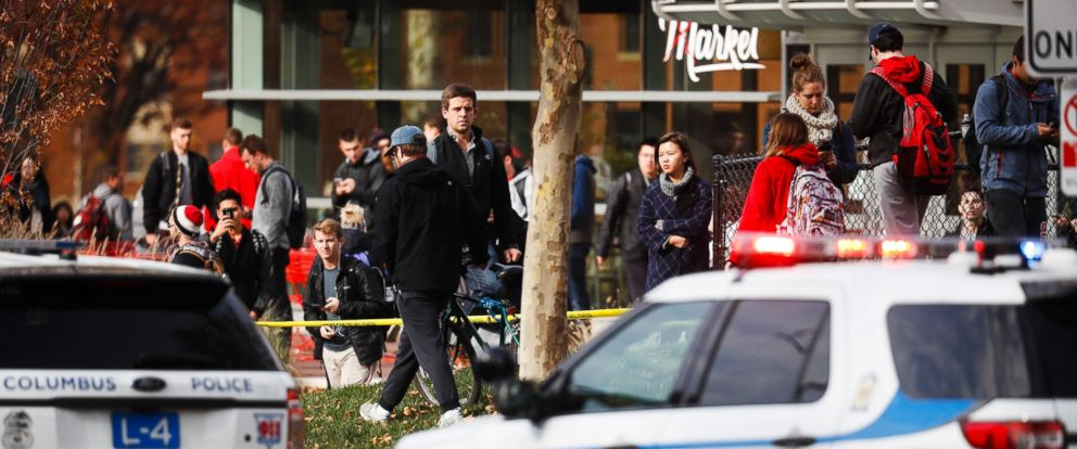 PHOTO: Students leave buildings surrounding Watts Hall as police respond to reports of a shooting on campus at Ohio State University, Monday, Nov. 28, 2016, in Columbus, Ohio.
