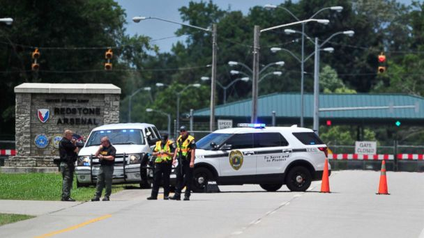 PHOTO: Madison County Sheriff's Deputies and Huntsville Police officer block Martin Road leading to Redstone Arsenal Gate 1, Tuesday, June 27, 2017 in Huntsville, Ala.