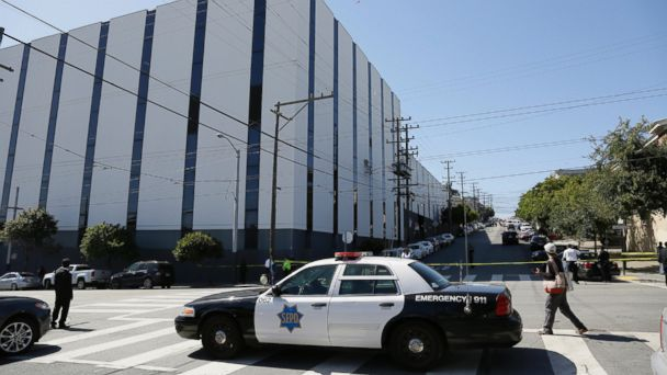 PHOTO: A San Francisco police car blocks a roadway outside a UPS package delivery warehouse where a shooting took place Wednesday, June 14, 2017, in San Francisco.