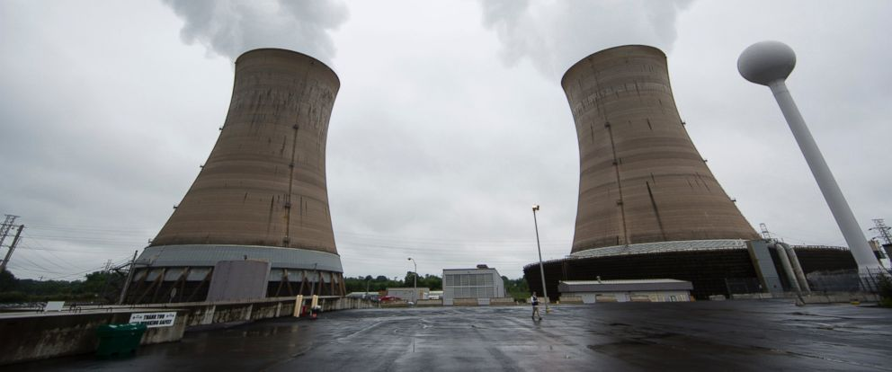 PHOTO: A Monday, May 22, 2017 file photo shows cooling towers at the Three Mile Island nuclear power plant in Middletown, Pa.