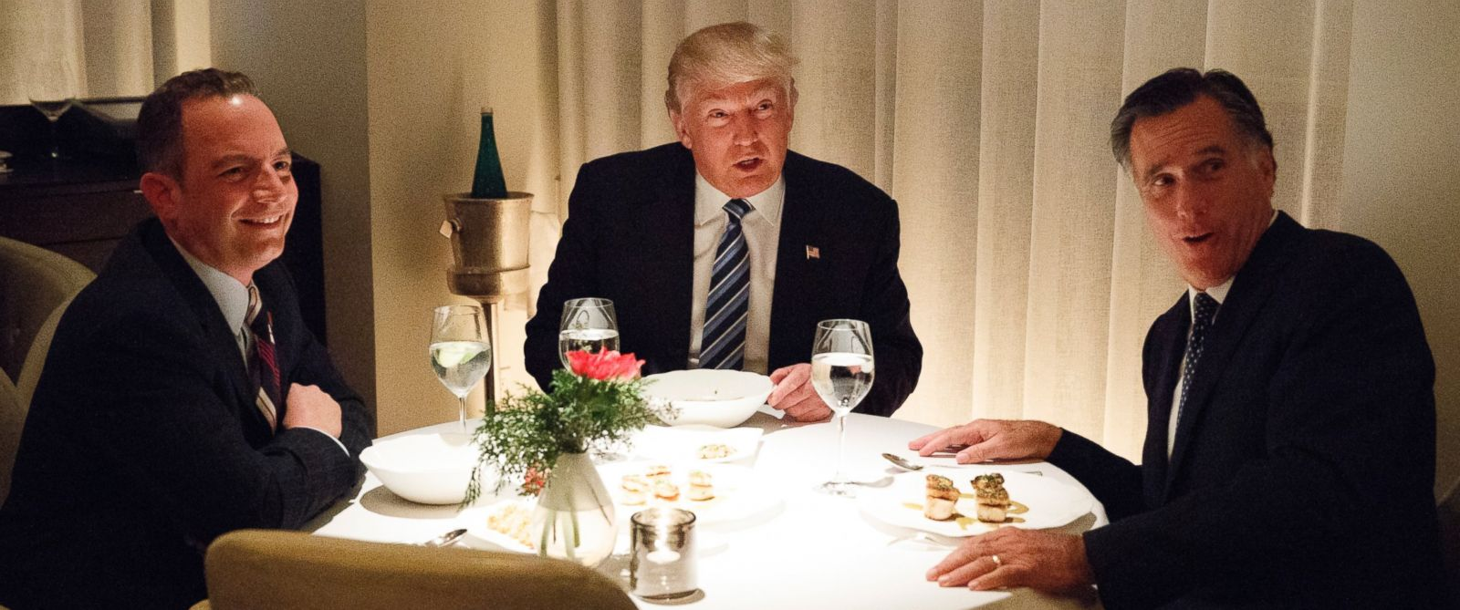PHOTO: Donald Trump, center, eats dinner with Mitt Romney, right, and Trump Chief of Staff Reince Priebus at Jean-Georges restaurant, Nov. 29, 2016, in New York.