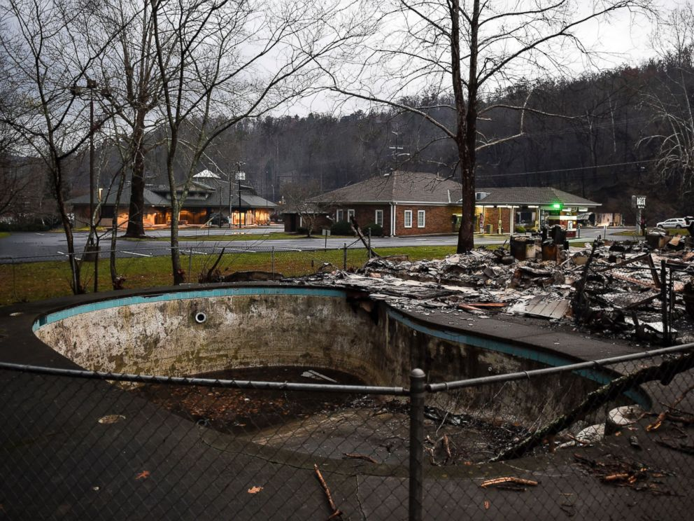 PHOTO: A damaged pool is among the remains of Creek Place Efficiencies after a wildfire in Gatlinburg, Tennessee, Nov. 30, 2016.