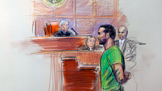 PHOTO: This artist rendering shows Amine El Khalifi before U.S. District Judge T. Rawles Jones Jr. in federal court in Alexandria, Va., Feb. 17, 2012.