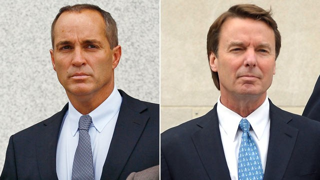 PHOTO: Andrew Young, former aide to former U.S. Sen. and presidential candidate John Edwards, and Former U.S. Sen. John Edwards leave the Federal courthouse leaves federal court in Greensboro, N.C., April 23, 2012.