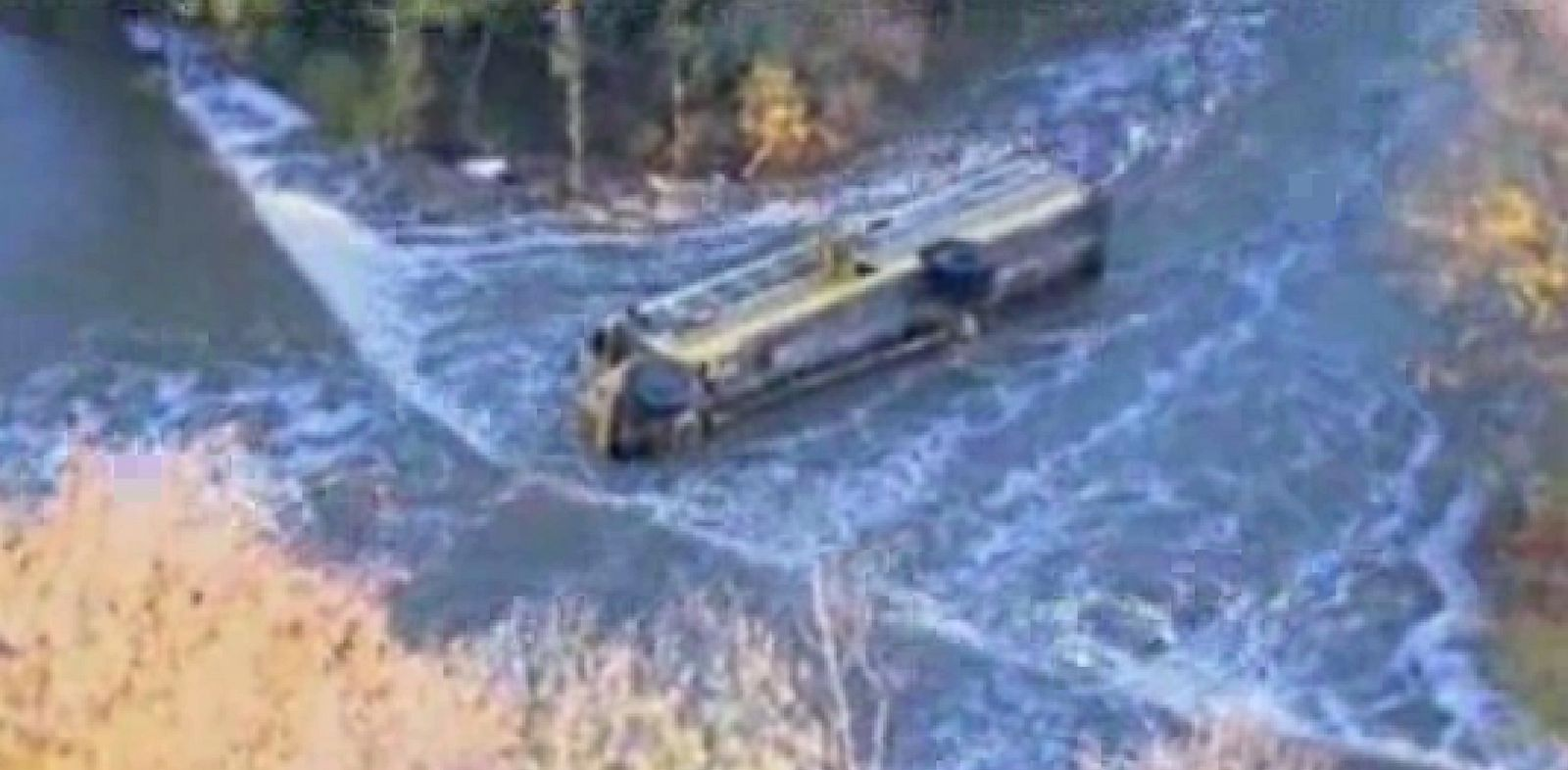 PHOTO: This image provided by KAKE-TV shows a school bus after it toppled into a creek, Thursday, Oct. 31, 2013 in Douglass, Kan.