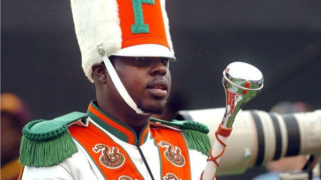 PHOTO: Robert Champion, a drum major in Florida A&amp;M University's Marching 100 band, performs during halftime of a football game in Orlando, Fla, Nov. 19 2011.
