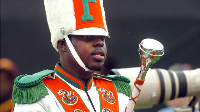 PHOTO: Robert Champion, a drum major in Florida A&M University's Marching 100 band, performs during halftime of a football game in Orlando, Fla, Nov. 19 2011.