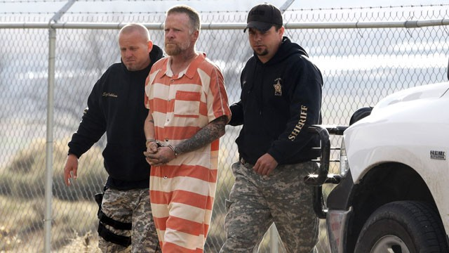 PHOTO: Sanpete Sheriffs Officers escort Troy James Knapp, 45, to the Sanpete County Jail, April 2, 2013, in Manti, Utah.