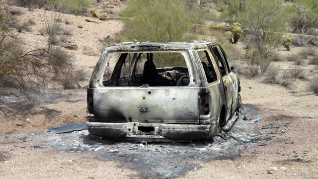 PHOTO: This image provided Saturday June 2, 2012, by the Pinal County Sheriff's Office, shows the vehicle where five dead bodies burned  were found inside in Pinal County's Vekol Valley area, west of Casa Grande, N.M.