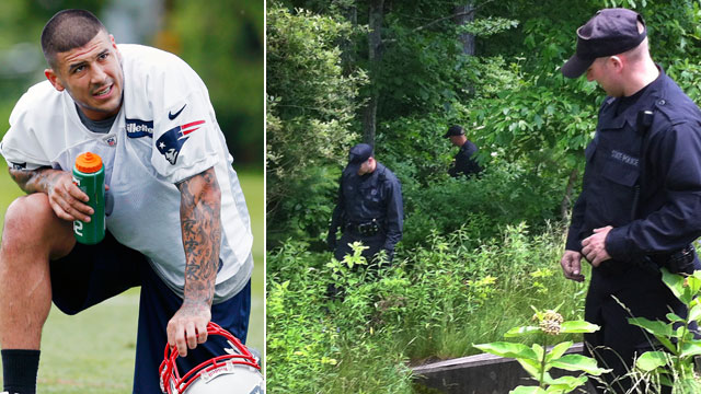 PHOTO: Massachusetts State Police search along a road near the home of New England Patriots NFL football player Aaron Hernandez in North Attleborough, Mass., June 19, 2013.