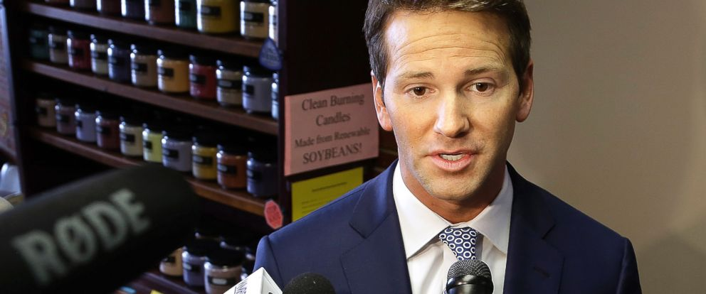 PHOTO: In this Feb. 6, 2015 file photo, Rep. Aaron Schock, R-Ill. speaks to reporters in Peoria, Ill.