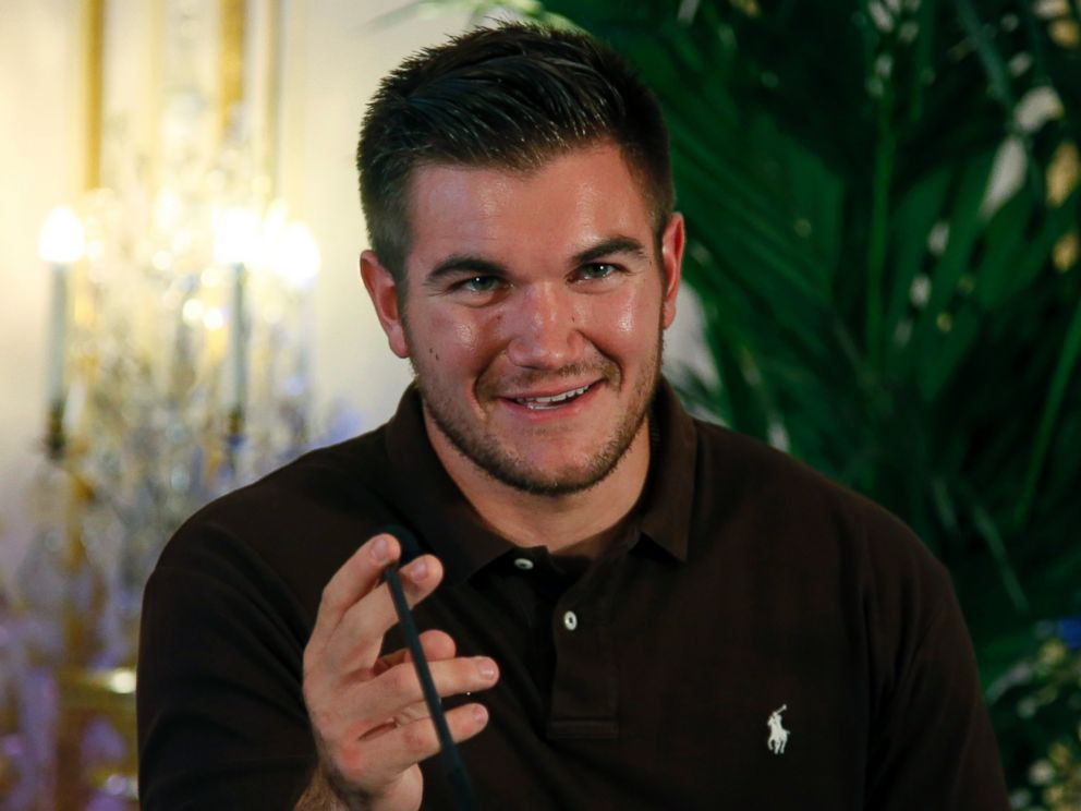 PHOTO: Alek Skarlatos attends a press conference held at the U.S. Ambassadors residence in Paris, France, Aug. 23, 2015.