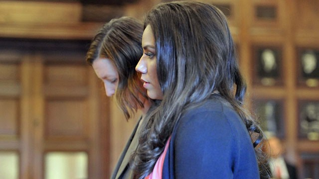 PHOTO: Alexis Wright appears with her attorney, Sarah Churchill, Friday, March 29, 2013 in Cumberland County Court, in Portland, Maine.