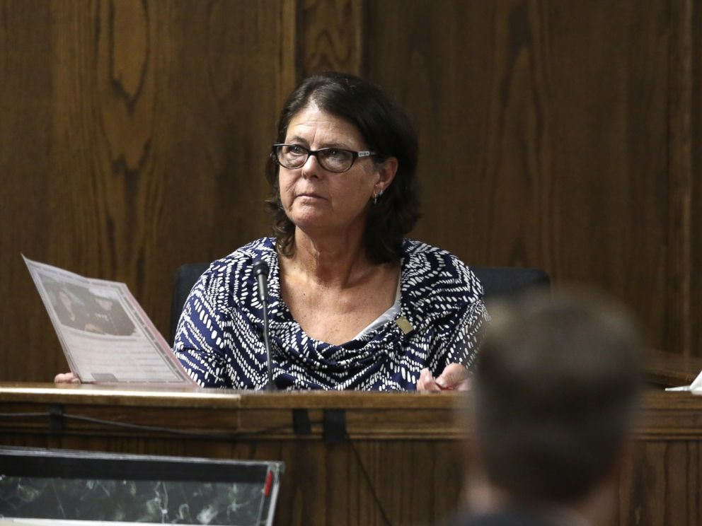 PHOTO: Jodi Routh, right, mother of former Marine Cpl. Eddie Ray Routh, pauses as she speaks about a photo of her son that was admitted into evidence during his capital murder, Feb. 19, 2015, in Stephenville, Texas.