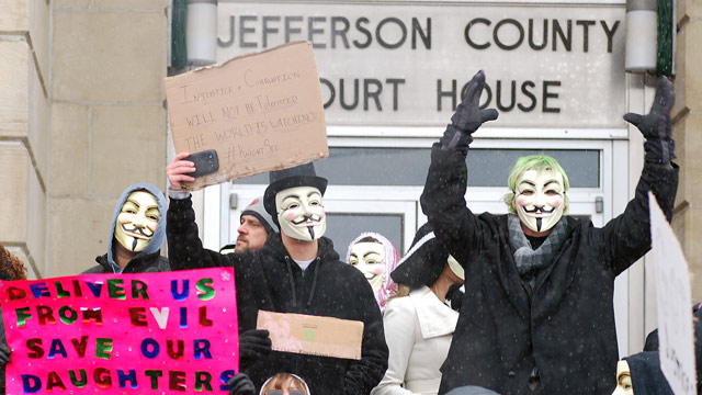 PHOTO: Activists from the online group Anonymous protest at the Jefferson County Courthouse in Steubenville, Ohio, Saturday, Dec. 29, 2012.