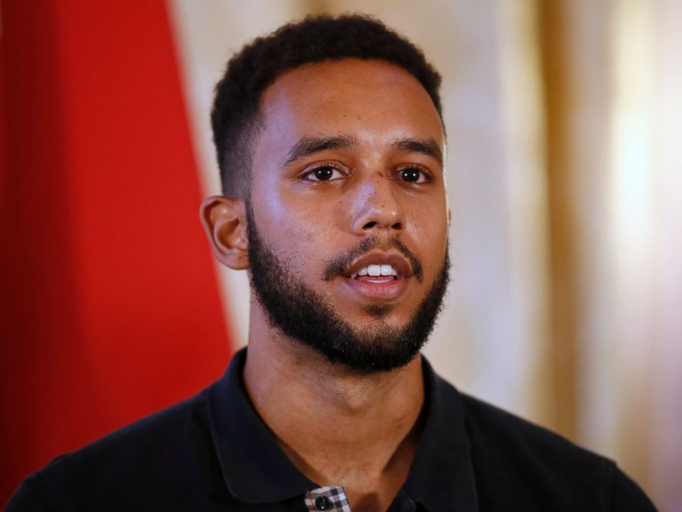 PHOTO: Anthony Sadler, a senior at Sacramento University in California, attends a press conference held at the U.S. Ambassadors residence in Paris, France, Aug. 23, 2015.