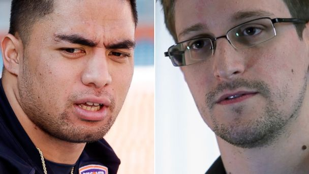 PHOTO: Manti Teo, left, is seen in this Jan. 5, 2013 file photo while Edward Snowden, left, is seen in this undated handout photo from The Guardian.