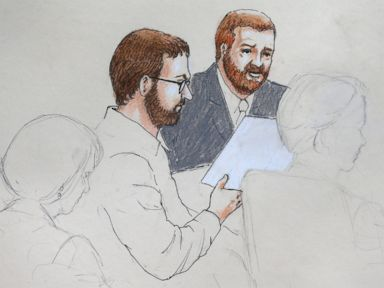 PHOTO: In this April 27, 2015 sketch, Aurora theater shooting defendant James Holmes, center left, and defense attorney Daniel King sit in court at the Arapahoe County Justice Center on the first day of Holmes trial, in Centennial, Colo.