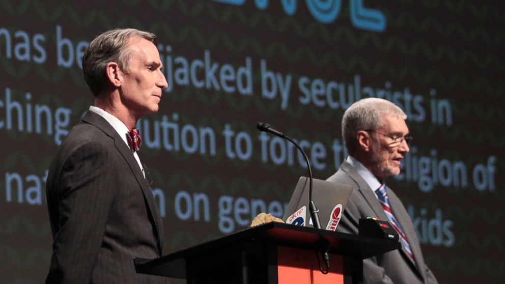 PHOTO: Creation Museum head Ken Ham, right, speaks during a debate on evolution with TVs Bill Nye, at the Creation Museum, Feb. 4, 2014, in Pete