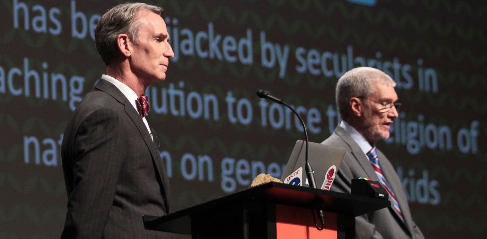 PHOTO: Creation Museum head Ken Ham, right, speaks during a debate on evolution with TVs Bill Nye, at the Creation Museum, Feb. 4, 2014, in Petersburg, Ky.