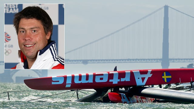PHOTO: Andrew Simpson, an Olympic gold medalist from Great Britain, has died after the Artemis Racing AC72 catamaran capsized during training in San Francisco Bay, May 9, 2013.
