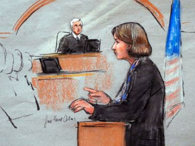 PHOTO: In this courtroom sketch, defense attorney Judy Clarke is depicted delivering opening statements on the first day of the federal death penalty trial of Boston Marathon bombing suspect Dzhokhar Tsarnaev on March 4, 2015, in Boston.