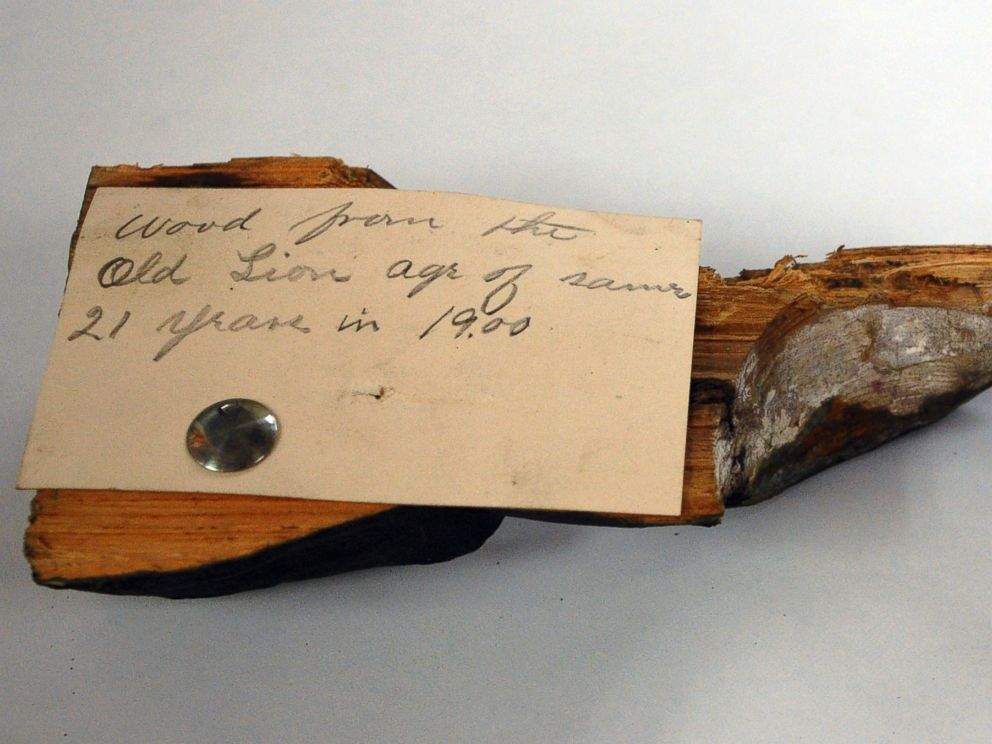 PHOTO: A piece of wood with the hand written description, ?Wood removed from the Old Lion age of same 21 years in 1900 is displayed after it was taken from a 1901 time capsule in Boston.