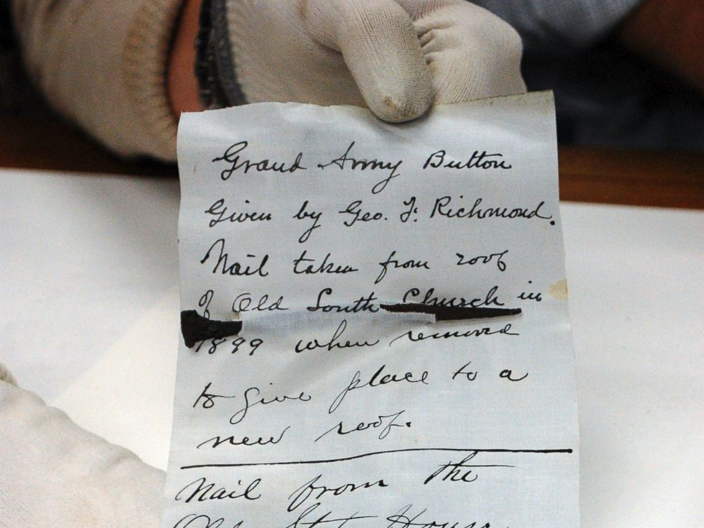 PHOTO: A nail from Old South Church is displayed after it was taken from a 1901 time capsule in Boston.