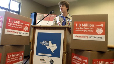 Boys Scout Alex Derr speaks out against anit-gay rules during the Equal Scouting Summit Press Conference being held near where the Boy Scouts of America are holding their annual meeting, May 22, 2013, in Grapevine, Texas.
