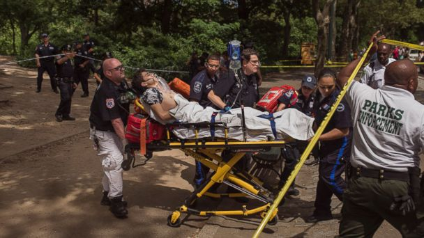 PHOTO: An injured man is carried to an ambulance in Central Park in New York City in this July 3, 2016 file photo.