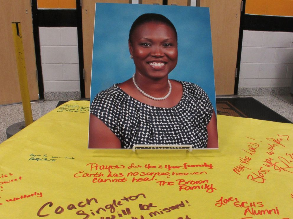 PHOTO: A picture of Sharonda Coleman-Singleton sits on paper signed by students, teachers and friends on June 18, 2015, in Goose Creek, S.C.