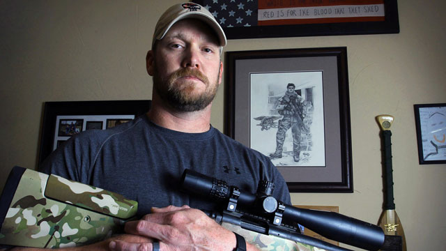 "PHOTO: Chris Kyle, former Navy SEAL and author of the book ""American Sniper"" poses in Midlothian, Texas, April 6, 2012."