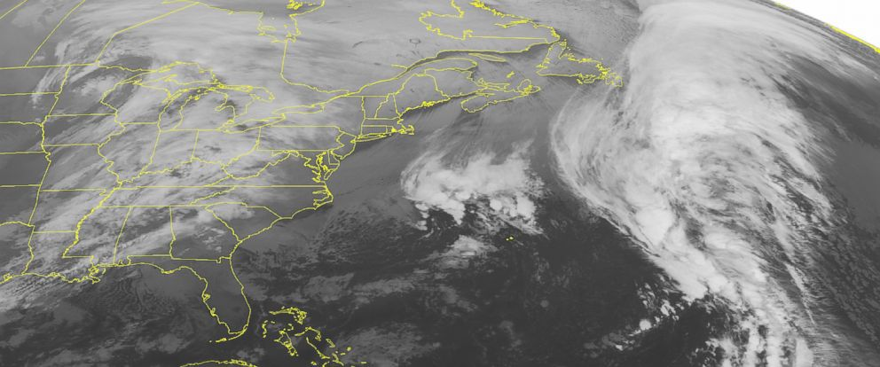 PHOTO: This NOAA satellite image taken, Dec. 8, 2014 at 12:45 AM EST shows an area of low pressure over the upper Mississippi Valley moving into the western Great Lakes.