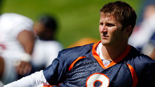 PHOTO: Denver Broncos backup quarterback Cullen Finnerty stretches at the