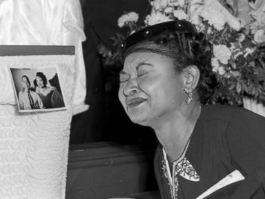 PHOTO: Mamie Till Mobley weeps at her sons funeral on Sept. 6, 1955, in Chicago.