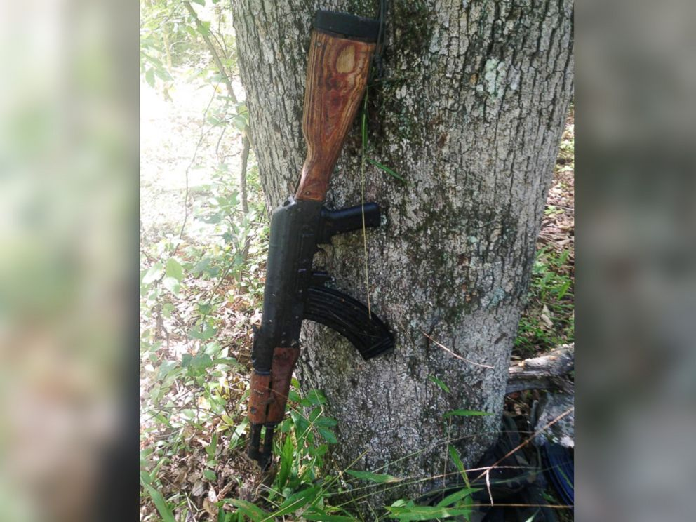 PHOTO: A police photo shows what they say is an AK-47-style assault rifle that they have recovered from the woods in the manhunt for Eric Frein, who allegedly opened fire in a deadly ambush at a Pennsylvania state police barracks on Sept. 12, 2014.